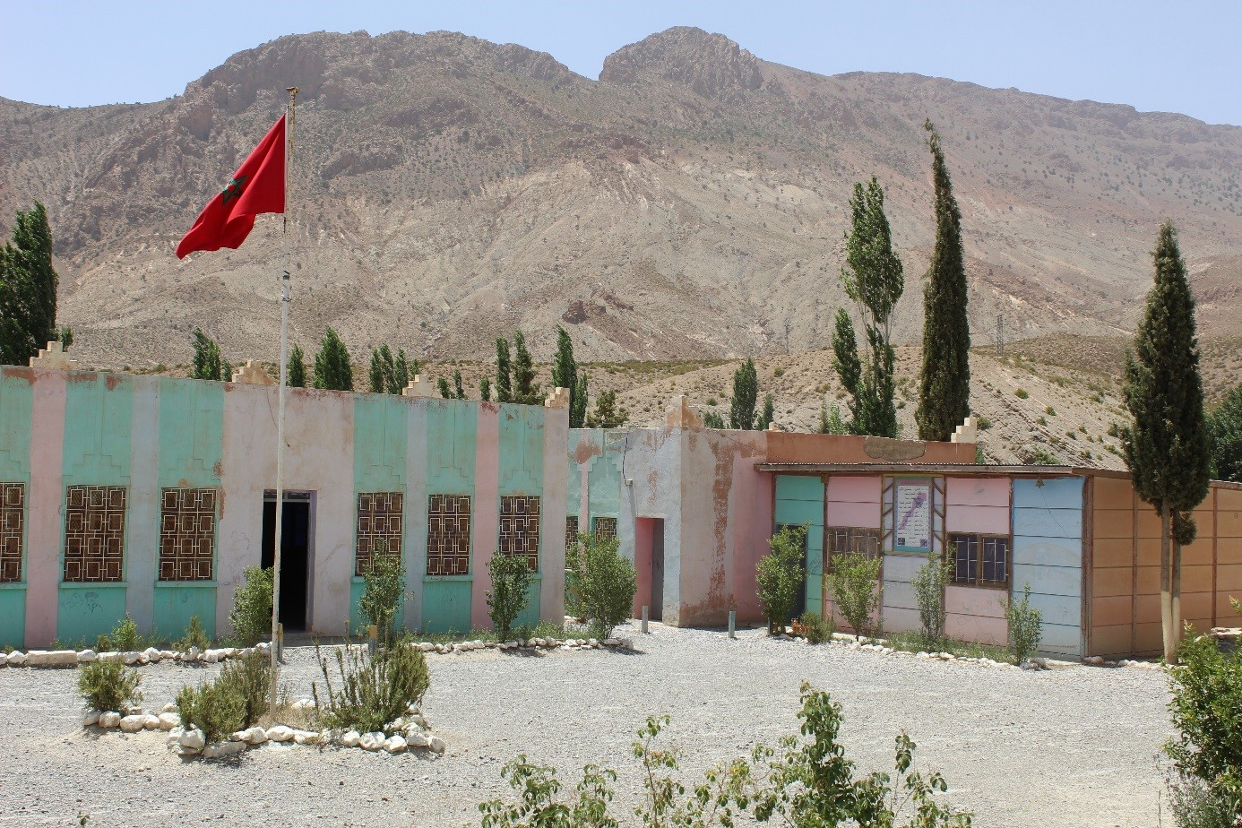 Typical mountain school, stone classroom, concrete classroom, prefabricated classroom. Wood coal stove for heating Morocco