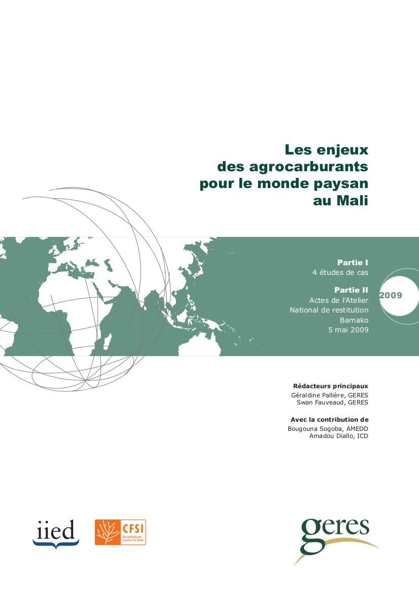 Les enjeux des agrocarburants pour le monde paysan au Mali