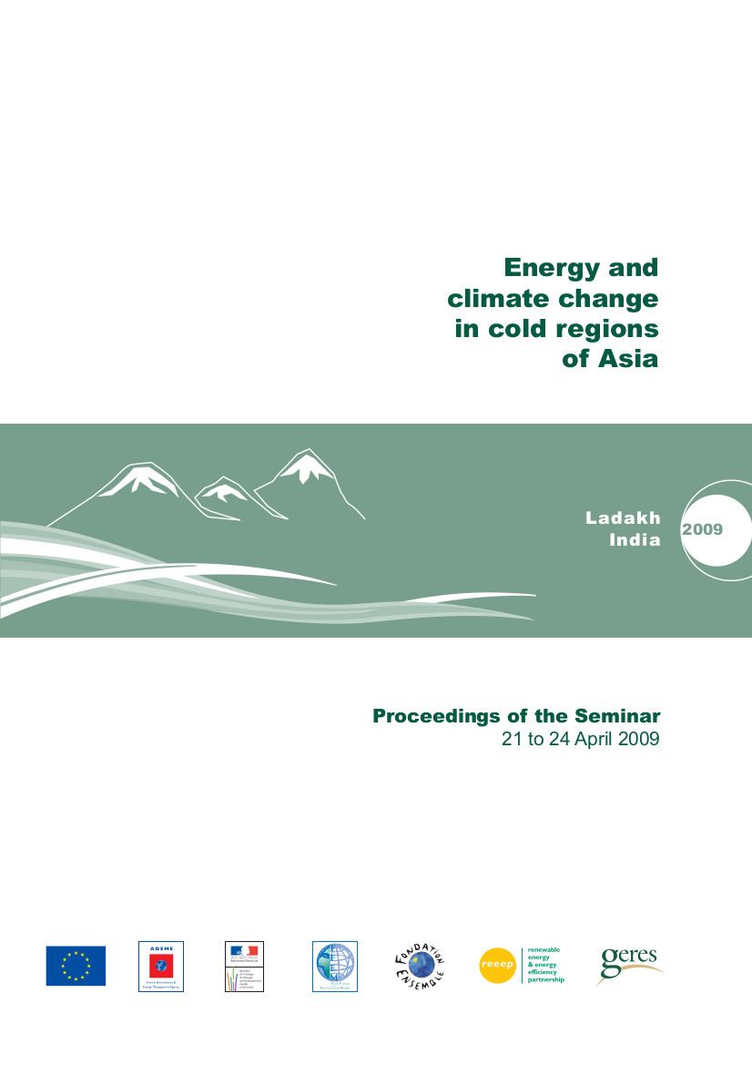 Energy and climate change in cold regions of Asia Proceedings of the Seminar